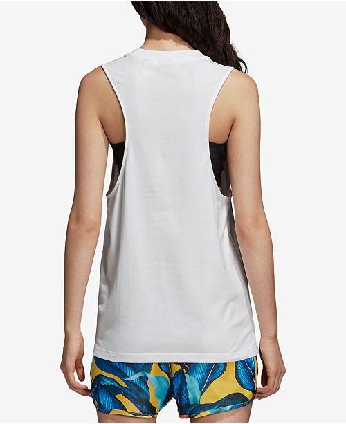 Top White Printed Tank Logo Racerback adidas Originals wBSXqxnXCf