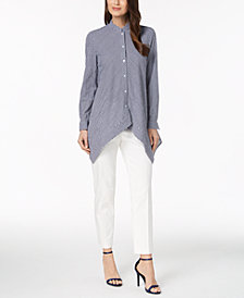 Anne Klein Asymmetrical Shirt & Slim-Fit Pants