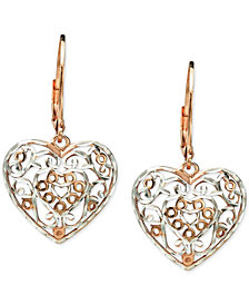 Giani Bernini Two-Tone Filigree Heart Drop Earrings in Sterling Silver & 18k Rose Gold-Plate, Created for Macy's