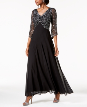 Embellished 3/4-Sleeve Gown