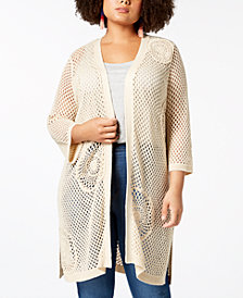 Love Scarlett Plus Size Crocheted Knee-Length Cardigan