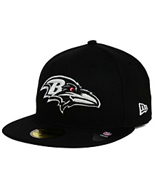 Baltimore Ravens Black And White 59FIFTY Fitted Cap