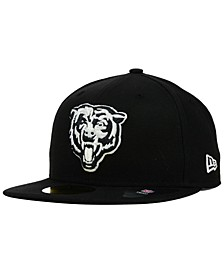 Chicago Bears Black And White 59FIFTY Fitted Cap