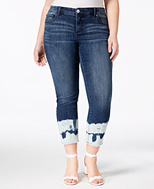 I.N.C. Plus Size Ankle Jeans with Tie-Dyed Cuffs, Created for Macy's