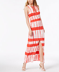Material Girl Juniors' Printed Lace-Up Maxi Dress, Created for Macy's