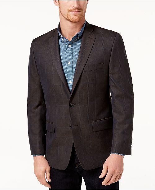 Michael Kors Men's Classic-Fit Brown/Blue Plaid Sport Coat