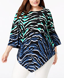 Alfani Plus Size Printed Pointed Hem Tunic Top, Created for Macy's
