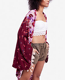Free People Bali Wrapped In Blooms Tassel-Trim Kimono