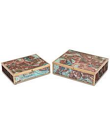 Zuo Mundi Set of 2 Boxes Brown Geode
