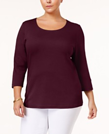 Karen Scott Plus Size Cotton Scoop-Neck Top, Created for Macy's