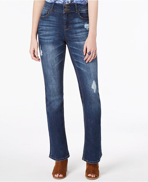 c1ee4695fdb ... Bootcut Jeans; Vanilla Star Juniors' Ripped Double-Button Bootcut ...