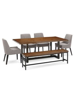Everly Dining Furniture, 6 Pc. Set (Table, 4 Square Back Side
