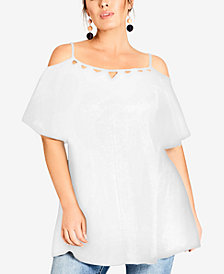 City Chic Trendy Plus Size Lace Flutter-Sleeve Top