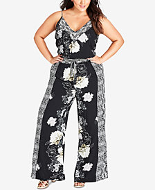 City Chic Trendy Plus Size Mixed-Print Jumpsuit