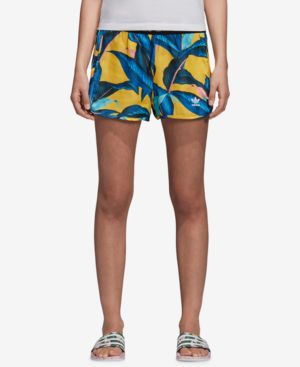 Adidas Originals Tropical-Print Satin Shorts in Multicolor