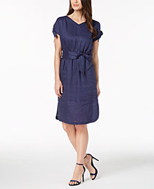 Anne Klein Linen Tie-Cuff Belted Dress