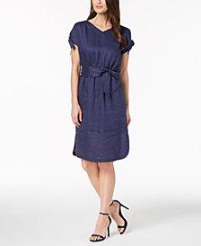 Anne Klein Linen Tie-Cuff Belted Dress