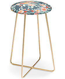 Deny Designs Jacqueline Maldonado Floral Dot Green Counter Stool