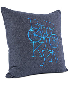 "Berkshire Brooklyn Industries Brooklyn Bike Embroidered 18"" Square Decorative Pillow"