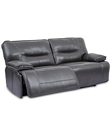 """CLOSEOUT! Mantella 83"""" Leather Sofa With Power Recliners And USB Power Outlet"""