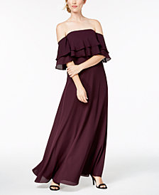 Calvin Klein Tiered Flounce Gown