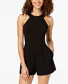 B Darlin Juniors' Lace-Back Romper