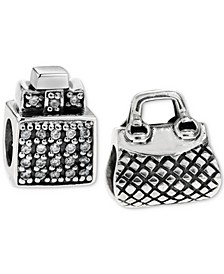 2-Pc. Set Perfume Bottle & Purse Bead Charms in Sterling Silver