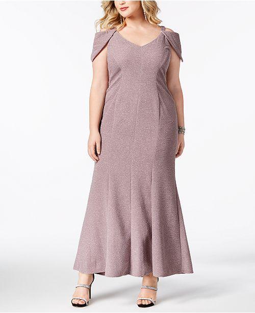 Morgan & Company Trendy Plus Size Glitter Gown