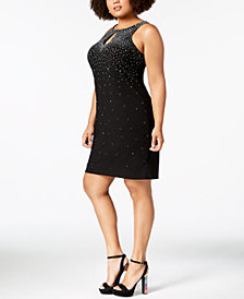 Morgan & Company Trendy Plus Size Embellished Keyhole Sheath Dress