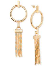 Steve Madden Hoop & Chain Tassel Drop Earrings