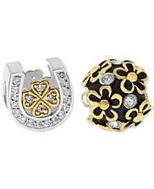 Two-Tone 2-Pc. Set Cubic Zirconia Lucky Horseshoe & Flower Bead Charms in Sterling Silver