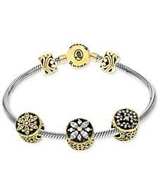 Cubic Zirconia Stone Charm Bracelet Gift Set in Sterling Silver
