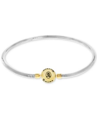 Snake Chain Charm Bracelet in Sterling Silver