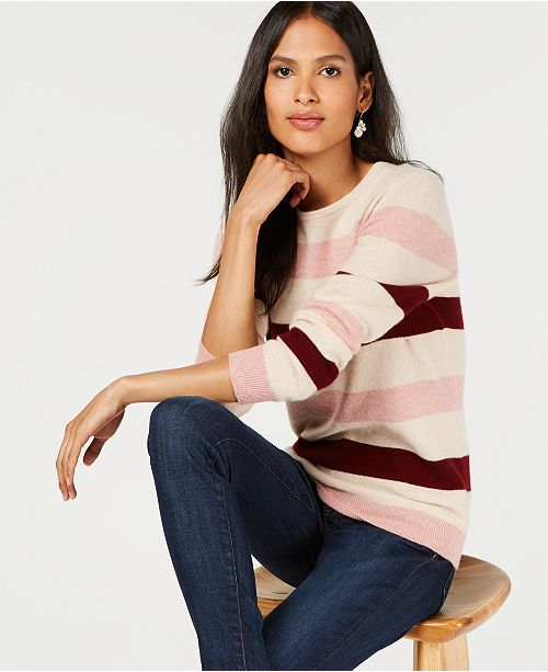 Club Pure for Blush Crewneck Cashmere Heather Combo Sweater Striped Charter Created Macy's d5xw0qz45