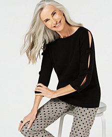 Charter Club Pure Cashmere Sweater with Bow Detail, Created for Macy's