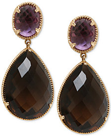 Smoky Quartz (20 ct. t.w.) & Amethyst (3 ct. t.w.) Drop Earrings in 14k Gold