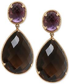Smoky Quartz (20 ct. t.w.) & Amethyst (3 ct. t.w.) Drop Earrings in 14k Gold