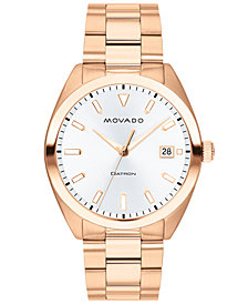 Movado Men's Swiss Heritage Series Datron Rose Gold-Tone Stainless Steel Bracelet Watch 39mm