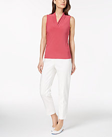 Anne Klein Pleated Shell & Slim-Fit Pants