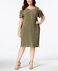 JM Collection Petite-Plus Size Cold-Shoulder Dress, Created for Macy's