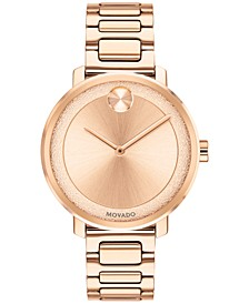 Women's Swiss BOLD Rose Gold-Tone Stainless Steel Bracelet Watch 34mm