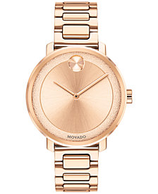 Movado Women's Swiss BOLD Rose Gold-Tone Stainless Steel Bracelet Watch 34mm