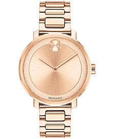 Movado Women's Swiss BOLD Rose Gold-Tone Stainless Steel Bracelet Watch 34mm