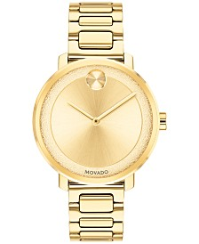 Movado Women's Swiss BOLD Gold-Tone Stainless Steel Bracelet Watch 34mm