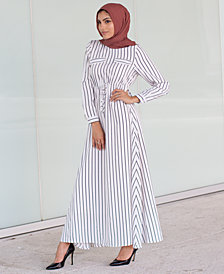 Verona Collection Striped Tie-Waist Maxi Dress