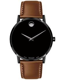 Men's Swiss Museum Classic Cognac Leather Strap Watch 40mm