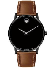 Movado Men's Swiss Museum Classic Cognac Leather Strap Watch 40mm