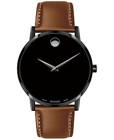 Movado Men's Swiss Museum Classic Cognac Leather Strap Watch 40mm