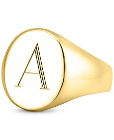 Sarah Chloe Initial Signet Ring in 14K Gold-Plated Sterling Silver