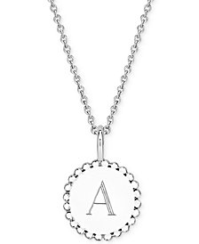"Sarah Chloe Initial Medallion Pendant Necklace in Sterling Silver, 16"" + 2"" extender"